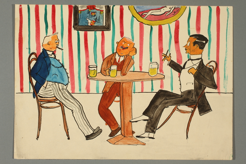2016.187.7 front Watercolor of three men relaxing at a table