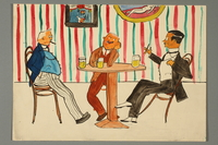 2016.187.7 front Watercolor of three men relaxing at a table  Click to enlarge