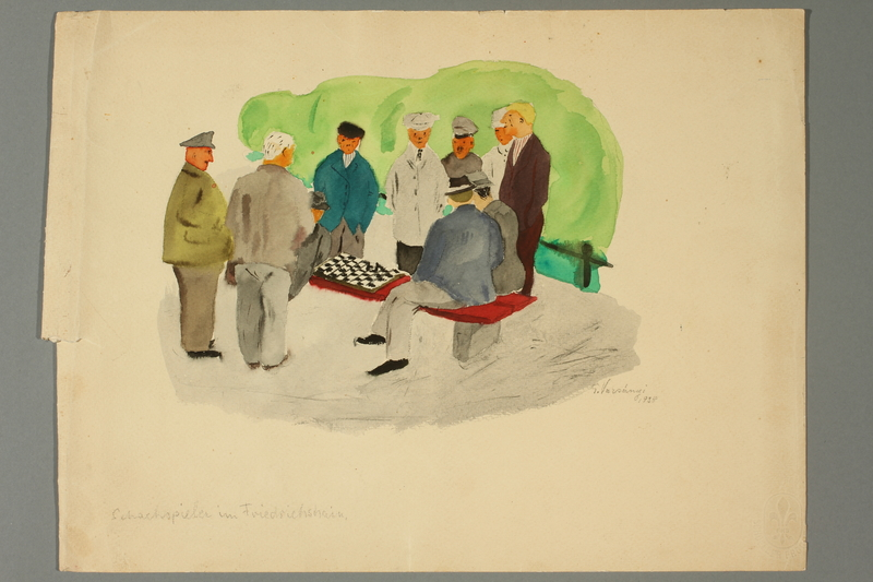 2016.187.8 front Watercolor of men watching a chess match