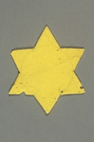 2016.458.3 back Unused yellow felt Star of David badge  Click to enlarge