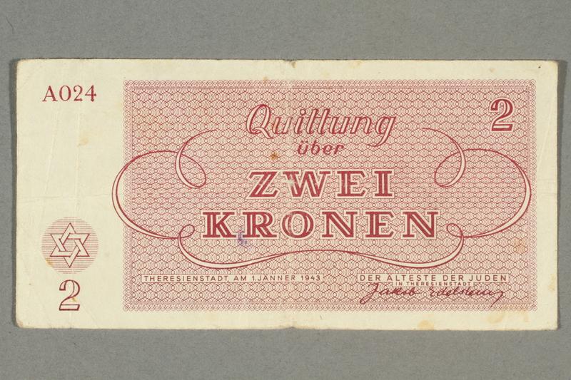 2016.458.14 front Theresienstadt ghetto-labor camp scrip, 2 kronen note