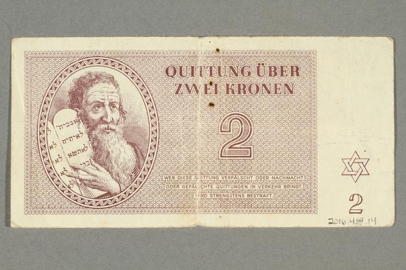 2016.458.14 back Theresienstadt ghetto-labor camp scrip, 2 kronen note