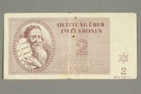 2016.458.14 back Theresienstadt ghetto-labor camp scrip, 2 kronen note  Click to enlarge