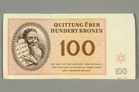 2016.458.11 back Theresienstadt ghetto-labor camp scrip, 100 kronen note  Click to enlarge
