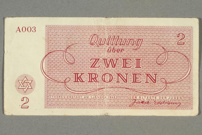 2016.458.12 front Theresienstadt ghetto-labor camp scrip, 2 kronen note