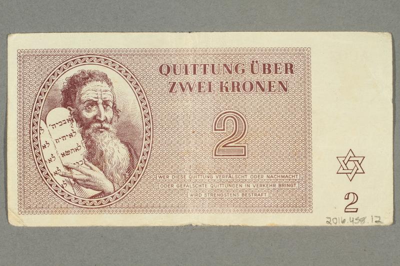 2016.458.12 back Theresienstadt ghetto-labor camp scrip, 2 kronen note