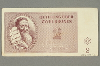 2016.458.12 back Theresienstadt ghetto-labor camp scrip, 2 kronen note  Click to enlarge