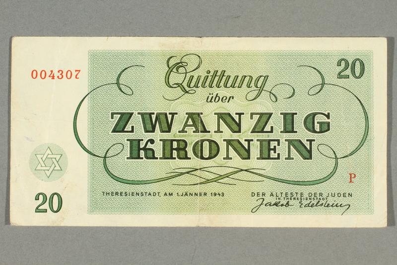 2016.458.10 front Theresienstadt ghetto-labor camp scrip, 20 kronen note