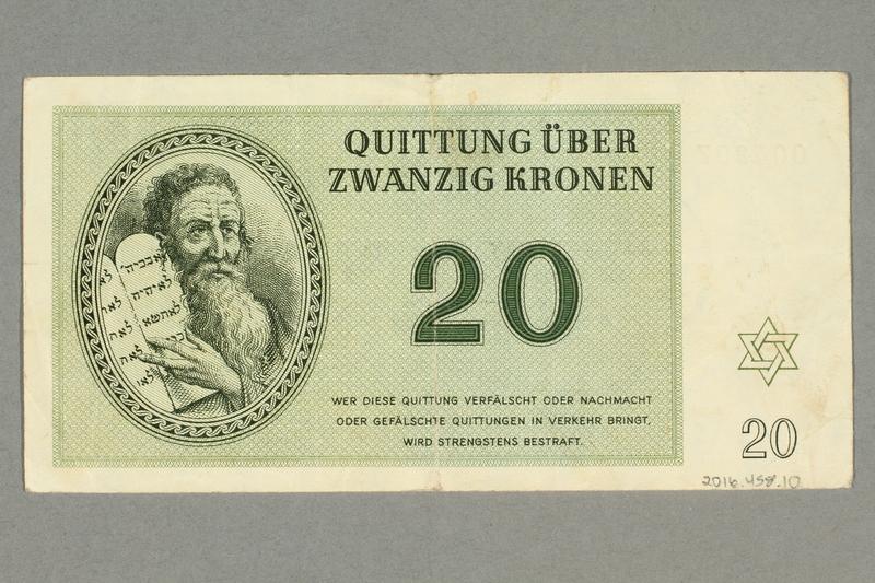 2016.458.10 back Theresienstadt ghetto-labor camp scrip, 20 kronen note