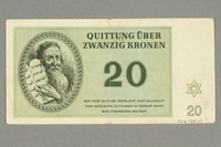 2016.458.10 back Theresienstadt ghetto-labor camp scrip, 20 kronen note  Click to enlarge