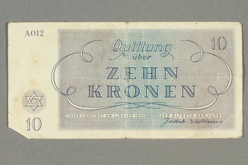 2016.458.7 front Theresienstadt ghetto-labor camp scrip, 10 kronen note