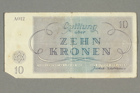 2016.458.7 front Theresienstadt ghetto-labor camp scrip, 10 kronen note  Click to enlarge