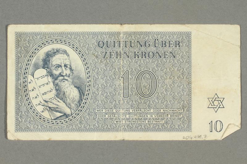 2016.458.7 back Theresienstadt ghetto-labor camp scrip, 10 kronen note