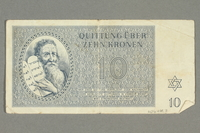 2016.458.7 back Theresienstadt ghetto-labor camp scrip, 10 kronen note  Click to enlarge