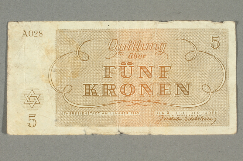 2016.458.8 front Theresienstadt ghetto-labor camp scrip, 5 kronen note
