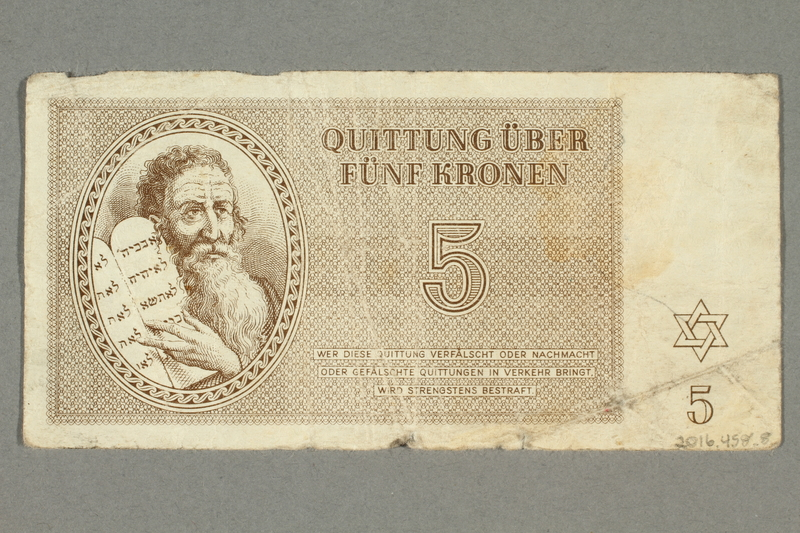 2016.458.8 back Theresienstadt ghetto-labor camp scrip, 5 kronen note