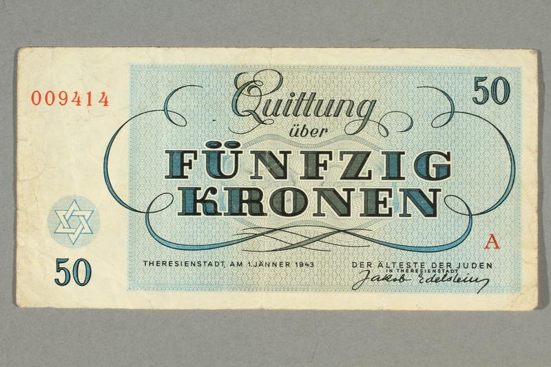 2016.458.9 front Theresienstadt ghetto-labor camp scrip, 50 kronen note