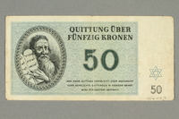 2016.458.9 back Theresienstadt ghetto-labor camp scrip, 50 kronen note  Click to enlarge