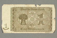 2016.458.15 back Nazi Germany, 1 rentenmark note  Click to enlarge