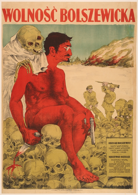 2016.184.363 front Poster of a naked, red Leon Trotsky seated on human skulls