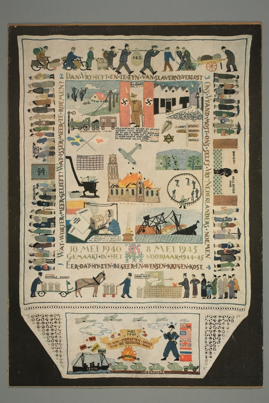 2016.184.373 front Printed reproduction of a photograph of a needlepoint about the war
