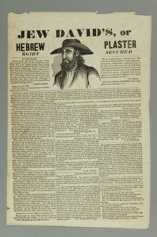 2016.184.375 front 19th American advertisement for new pain medication, Hebrew plaster