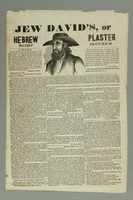 2016.184.375 front 19th American advertisement for new pain medication, Hebrew plaster  Click to enlarge