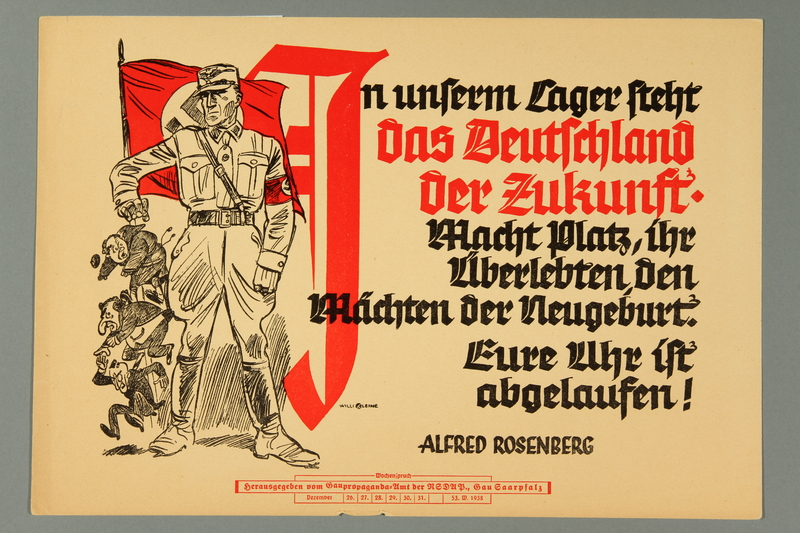 2016.184.377 front Nazi handbill of a Stormtrooper getting rid of obstacles to Germany's future