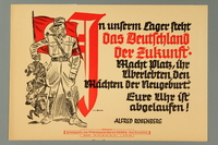 2016.184.377 front Nazi handbill of a Stormtrooper getting rid of obstacles to Germany's future  Click to enlarge