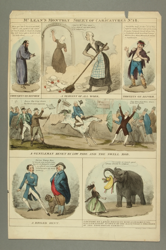 2016.184.379 front Color print with six panels with caricatures of current events
