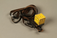 2016.280.1_a-b 3/4 view closed Pair of tefillin and pouch owned by a Polish Jewish immigrant  Click to enlarge