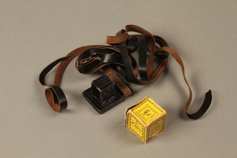2016.280.1_c-d 3/4 view open Pair of tefillin and pouch owned by a Polish Jewish immigrant