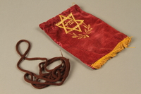 2016.280.1_e-f 3/4 view Pair of tefillin and pouch owned by a Polish Jewish immigrant  Click to enlarge