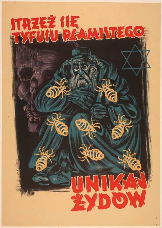2016.184.389 front Poster of an miserable old Jewish man crawling with lice