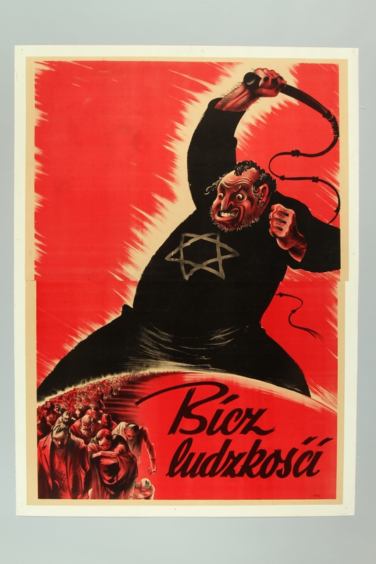 2016.184.394 front Poster of a giant Jew preparing to whip a line of refugees