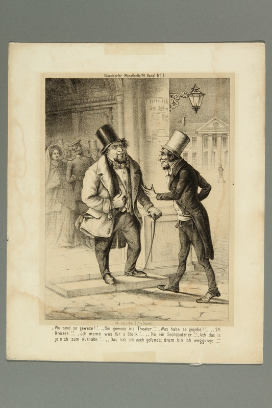 2016.184.399 front Print from a German periodical depicting two Jewish theatergoers conversing