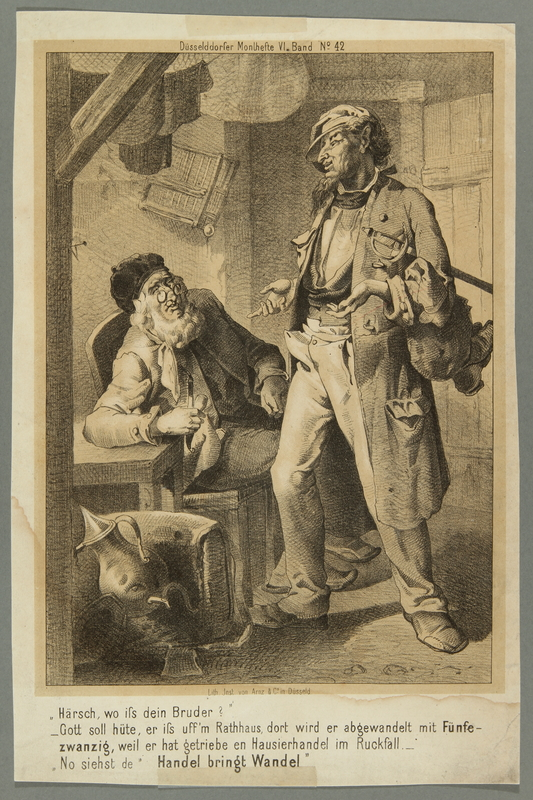 2016.184.400 front Print from a German periodical depicting a Jewish peddler conversing with an older man