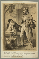 2016.184.400 front Print from a German periodical depicting a Jewish peddler conversing with an older man  Click to enlarge