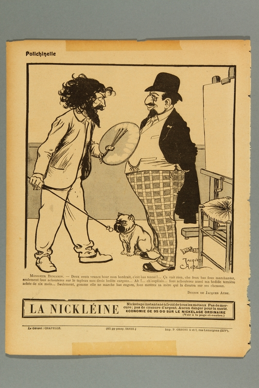 2016.184.405 front French cartoon of a Jewish banker haggling over the price of his portrait