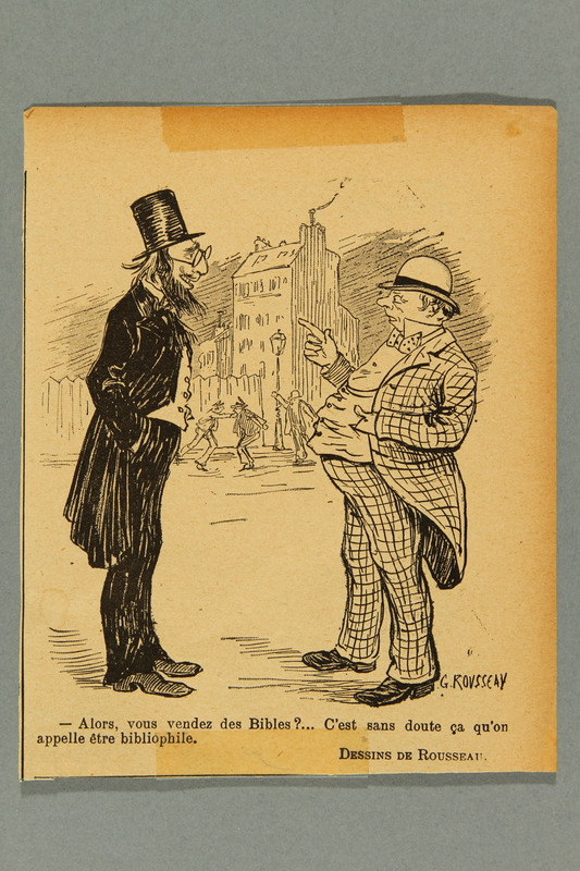 2016.184.412 front Newspaper clipping of a cartoon of a Gentile talking to a Jew who sells Bibles