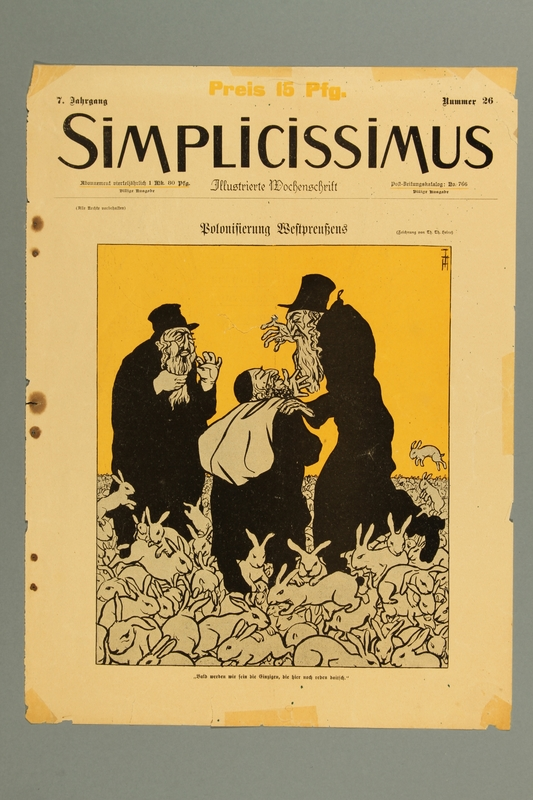 2016.184.414 front Magazine cover with a caricature of Orthodox Jews in a field of rabbits