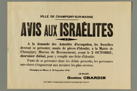 2016.184.425 front Notice ordering Jews in a Paris suburb to get their IDs stamped  Click to enlarge