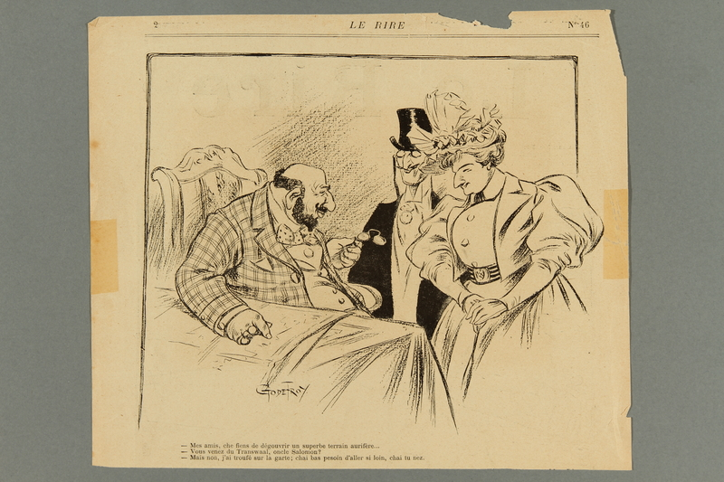 2016.184.427 front French antisemitic caricature of a garishly dressed Jewish businessman
