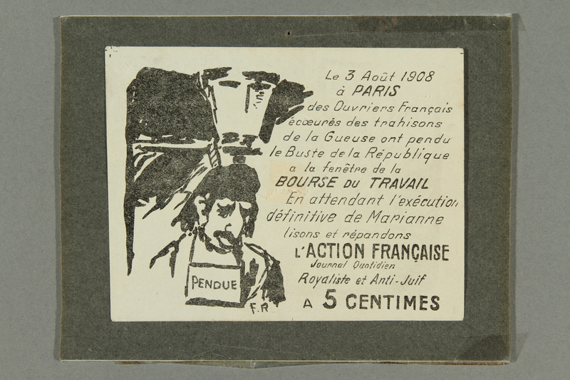 2016.184.429 front Ad for a French antisemitic journal with a drawing of lynched Jewish man