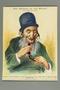 Antisemitic caricature of an old Jewish man eating pork sausage