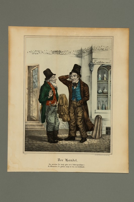 2016.184.437 front Caricature of a Jewish peddler making a deal with a Gentile customer