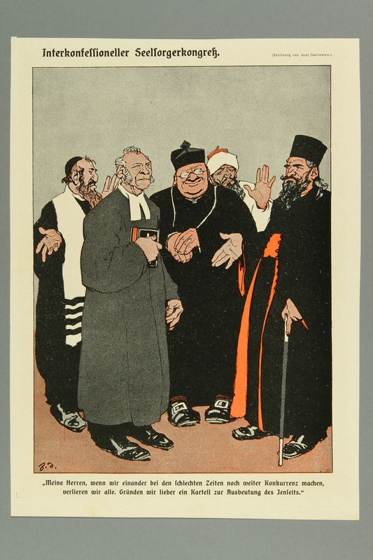 2016.184.443 front Satiric print depicting religious leaders of 5 different faiths