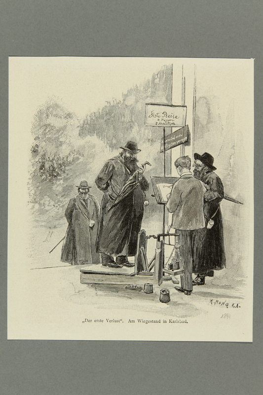 2016.184.445 front Wood engraving of a heavyset Jewish man getting himself weighed
