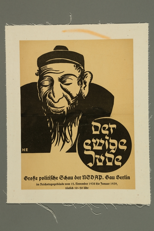 2016.184.450 front Handbill for a Nazi Party meeting with the Eternal Jew caricature