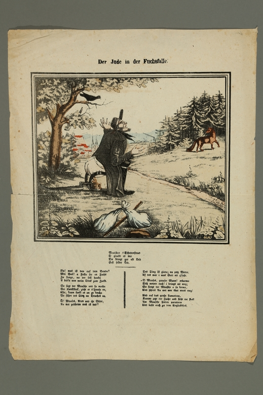 2016.184.451 front Print with a caricature of a Jew in a fox trap with an 18th c. antisemitic poem